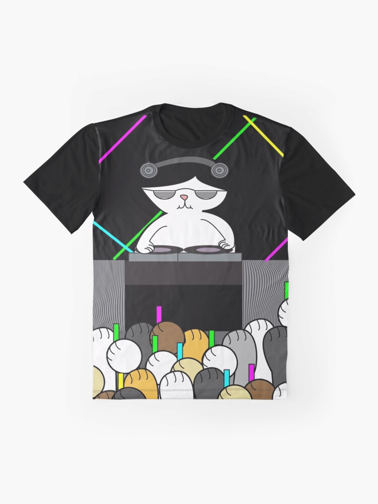 Alternate view of Black White Cat DJ Rave Dance Party Cat Paws Graphic T-Shirt