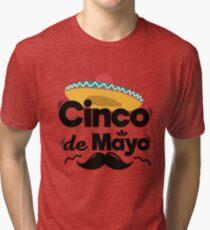 Mexican Hat and Moustache Cinco De Mayo Celebration Shirt Tri-blend T-Shirt