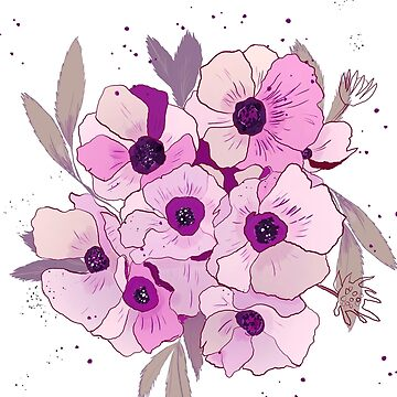Anemone bunch, romantic, vintage feel, violet by luisanino