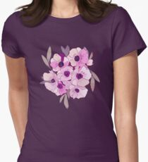 Anemone bunch, romantic, vintage feel, violet Women's Fitted T-Shirt