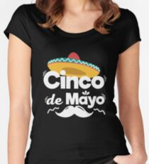 Mexican Hat and Moustache Cinco De Mayo Celebration Shirt Women's Fitted Scoop T-Shirt