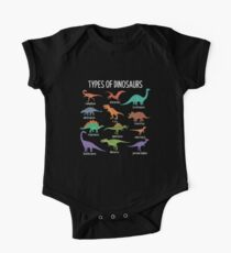 Types Of Dinosaurs T-Shirt Dino Identification Tee One Piece - Short Sleeve