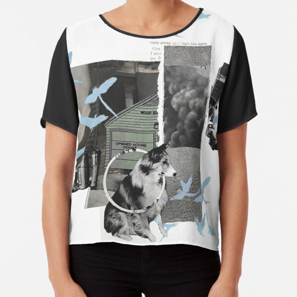 collie Collage Chiffon Top