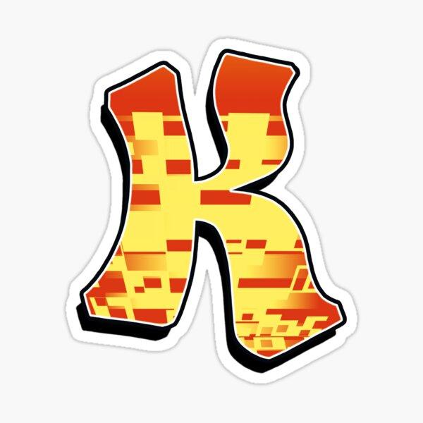 K - blocky Sticker