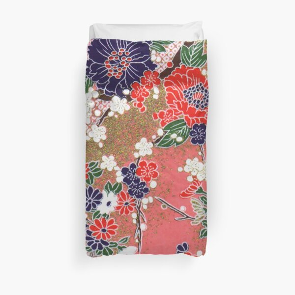 RED BLUE WHITE SPRING FLOWERS ,IN PINK AND GOLD Antique Japanese Floral Duvet Cover