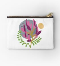 Modern Pink Flowers and Vines Zipper Pouch