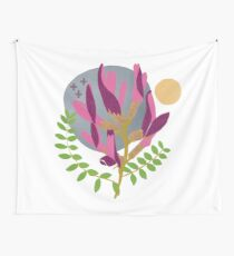 Modern Pink Flowers and Vines Wall Tapestry