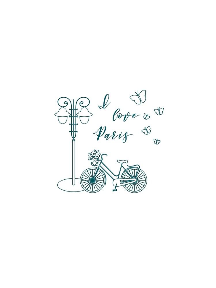 Bicycle, lantern, butterflies. I love Paris. by aquamarine-p