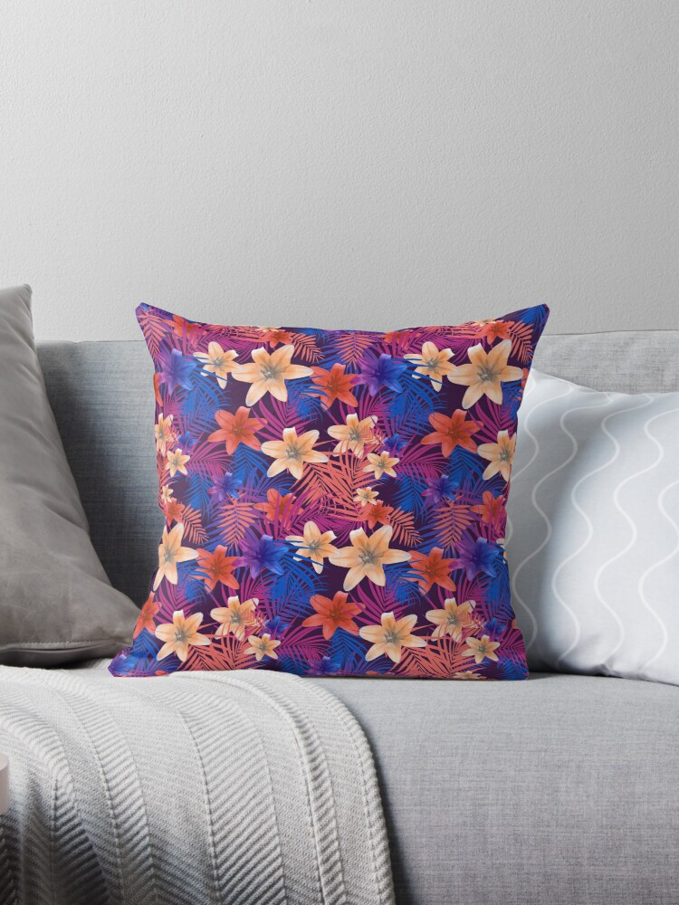 LILIES AND PALM LEAVES PATTERN by Karl Perkins