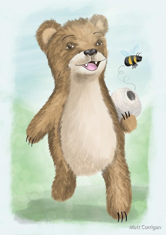 Bear with beehive illustration by Matt Corrigan
