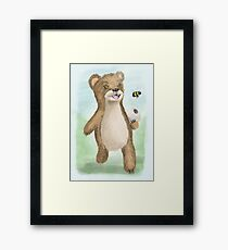 Bear with beehive illustration Framed Print