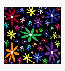 Colorful Retro Flowers on Black Photographic Print