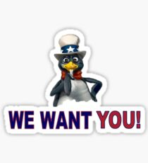 We Want You! - Linux Penguin Sticker