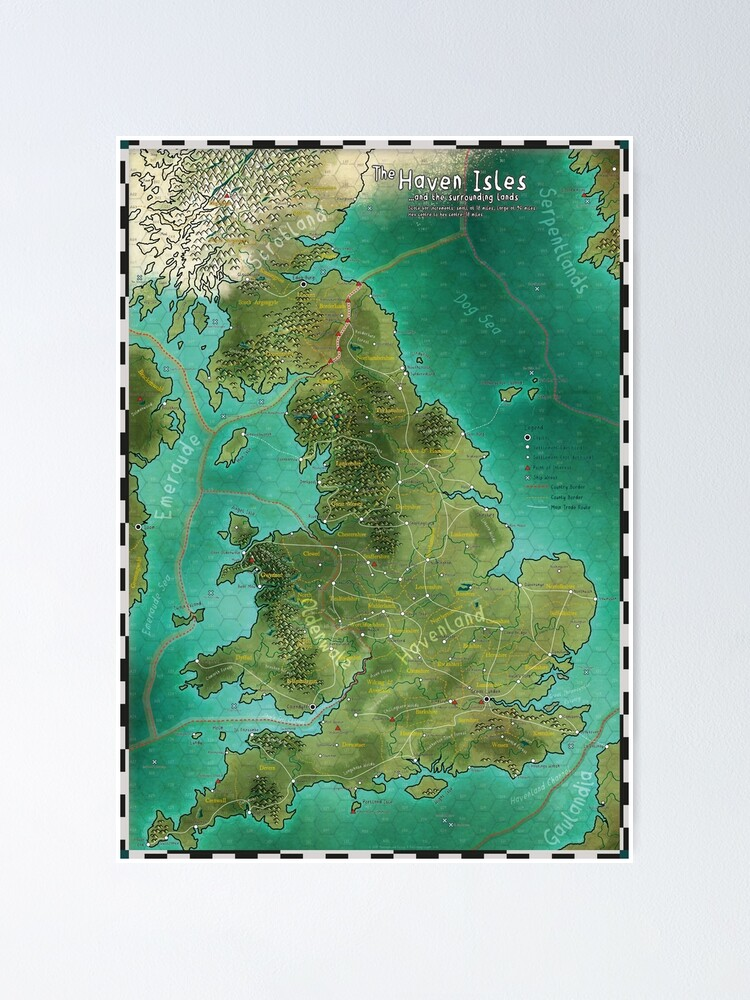 Alternate view of The Haven Isles Map Poster