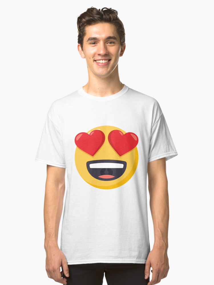 JoyPixels Smiling Face with Heart Eyes Emoji Classic T-Shirt Front