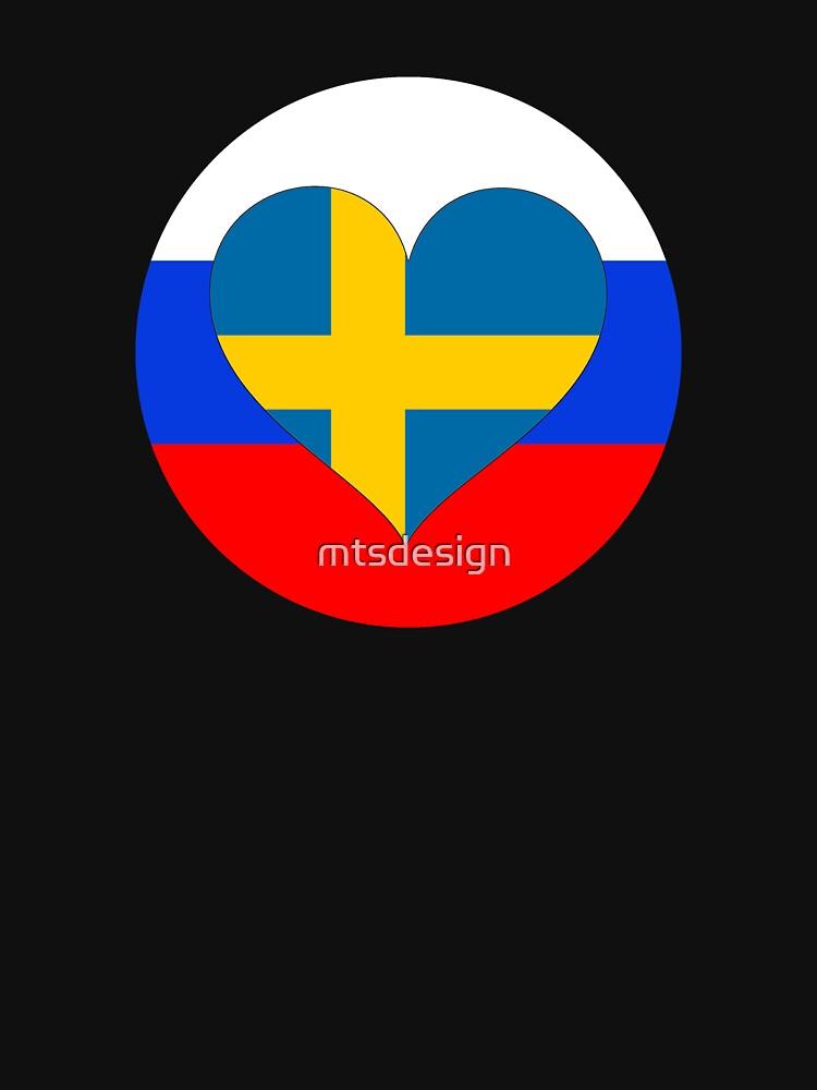 SWEDEN RUSSIA football heart by mtsdesign