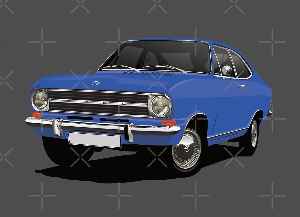 Blue Opel Kadett B Coupe - illustration by knappidesign