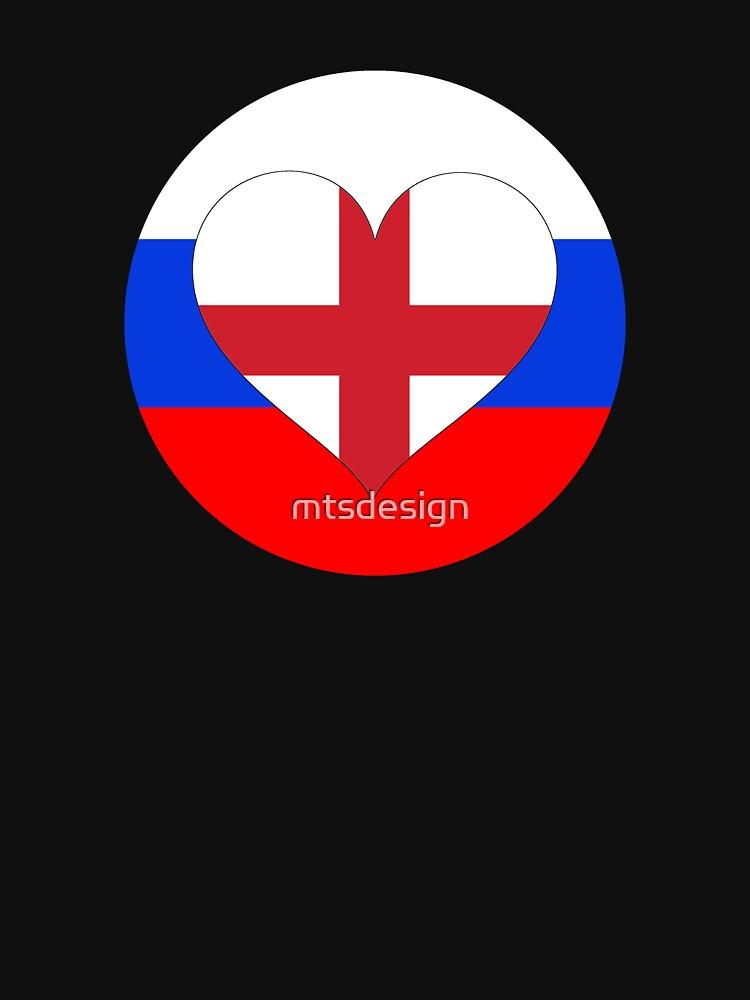 ENGLAND RUSSIA football heart by mtsdesign