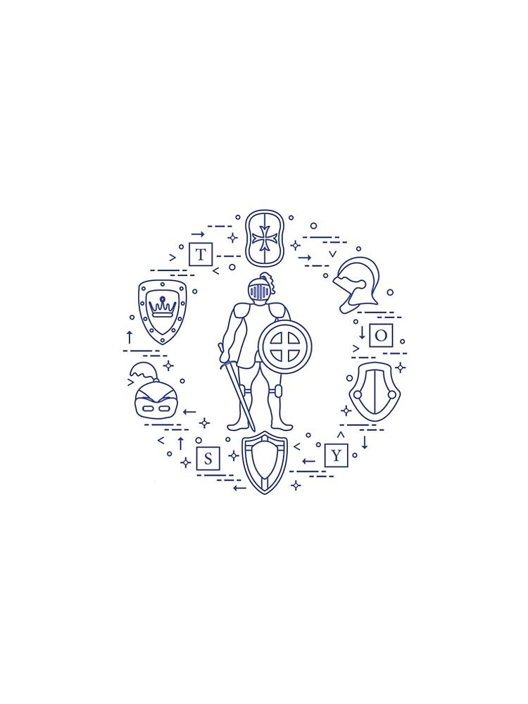 Knight, shields, swords, helmets, cubes. by aquamarine-p