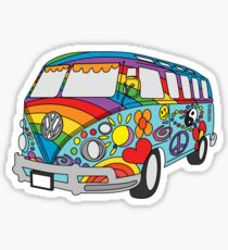 Painted VW Hippie Van  Sticker