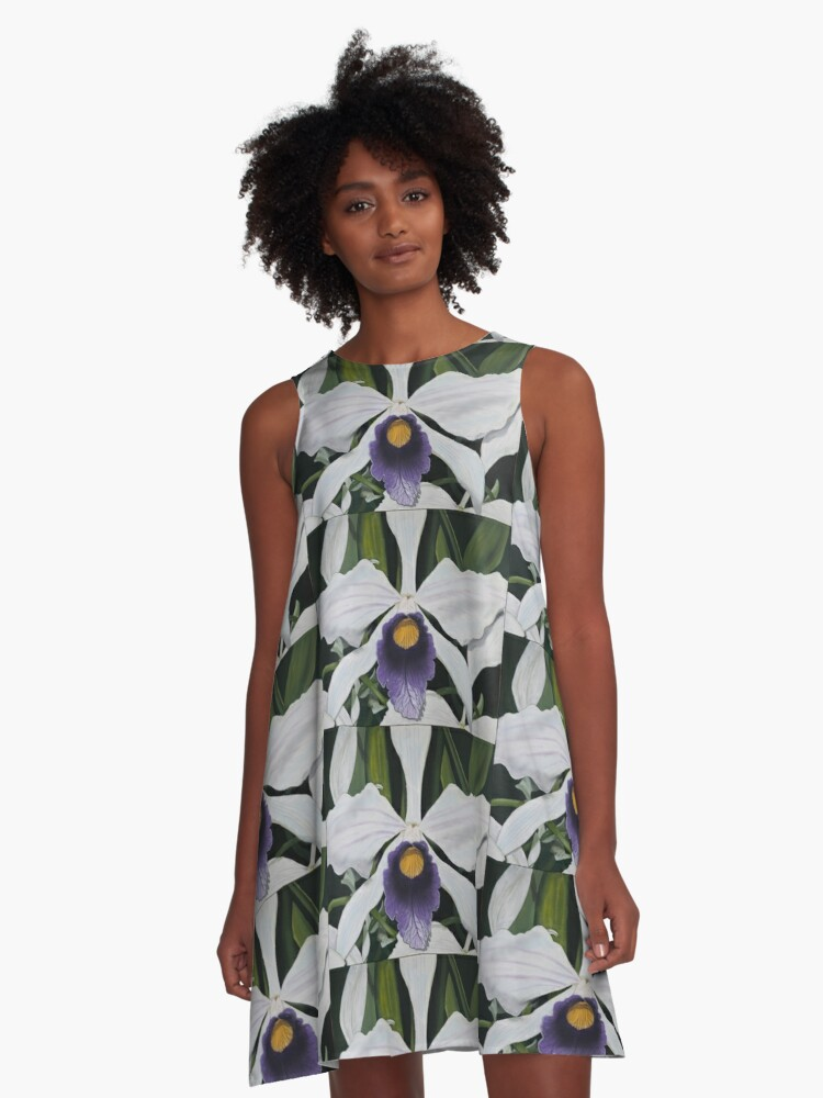 Brazilian Orchid A-Line Dress Front