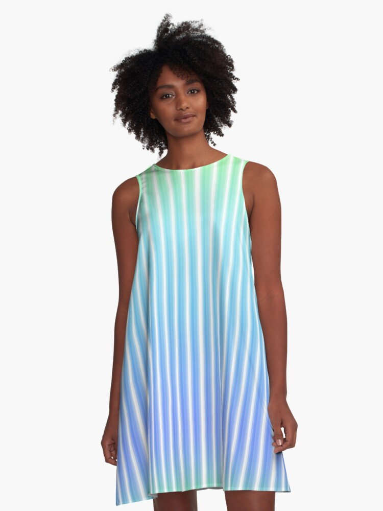 Gradient blue and green A-Line Dress Front