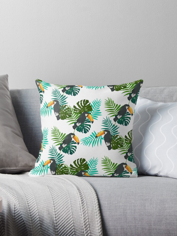 TOUCAN BIRD AND LEAVES SEAMLESS PATTERN by Karl Perkins