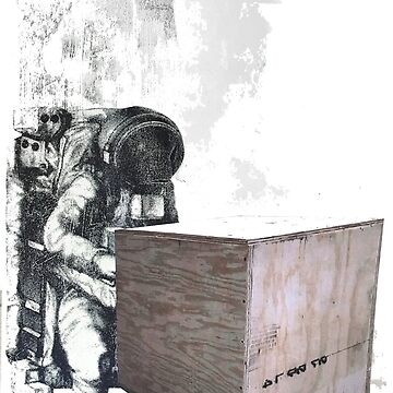 Astronaut delivering a box by secondseed
