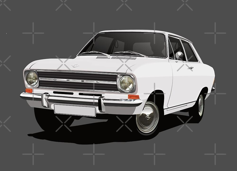 White Opel Kadett B  Sedan - illustration by knappidesign