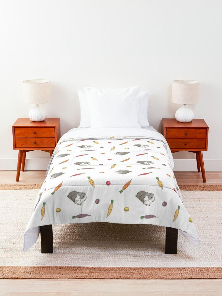 Alternate view of Carrots and Silkie Guinea Pigs Pattern Comforter