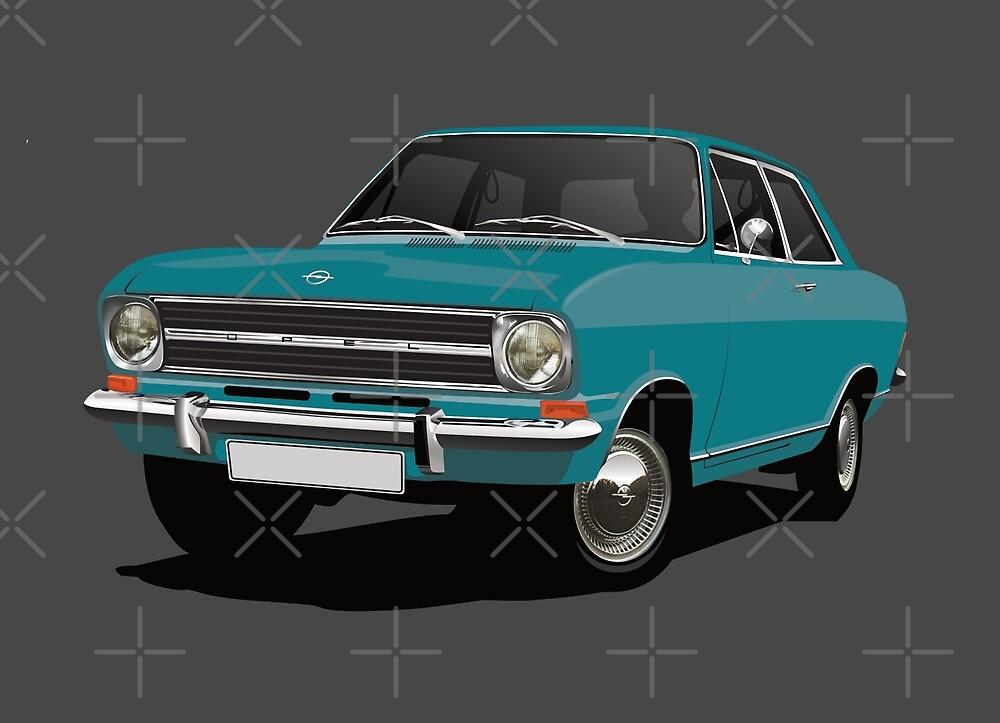 Turquoise Opel Kadett B Sedan - illustration by knappidesign