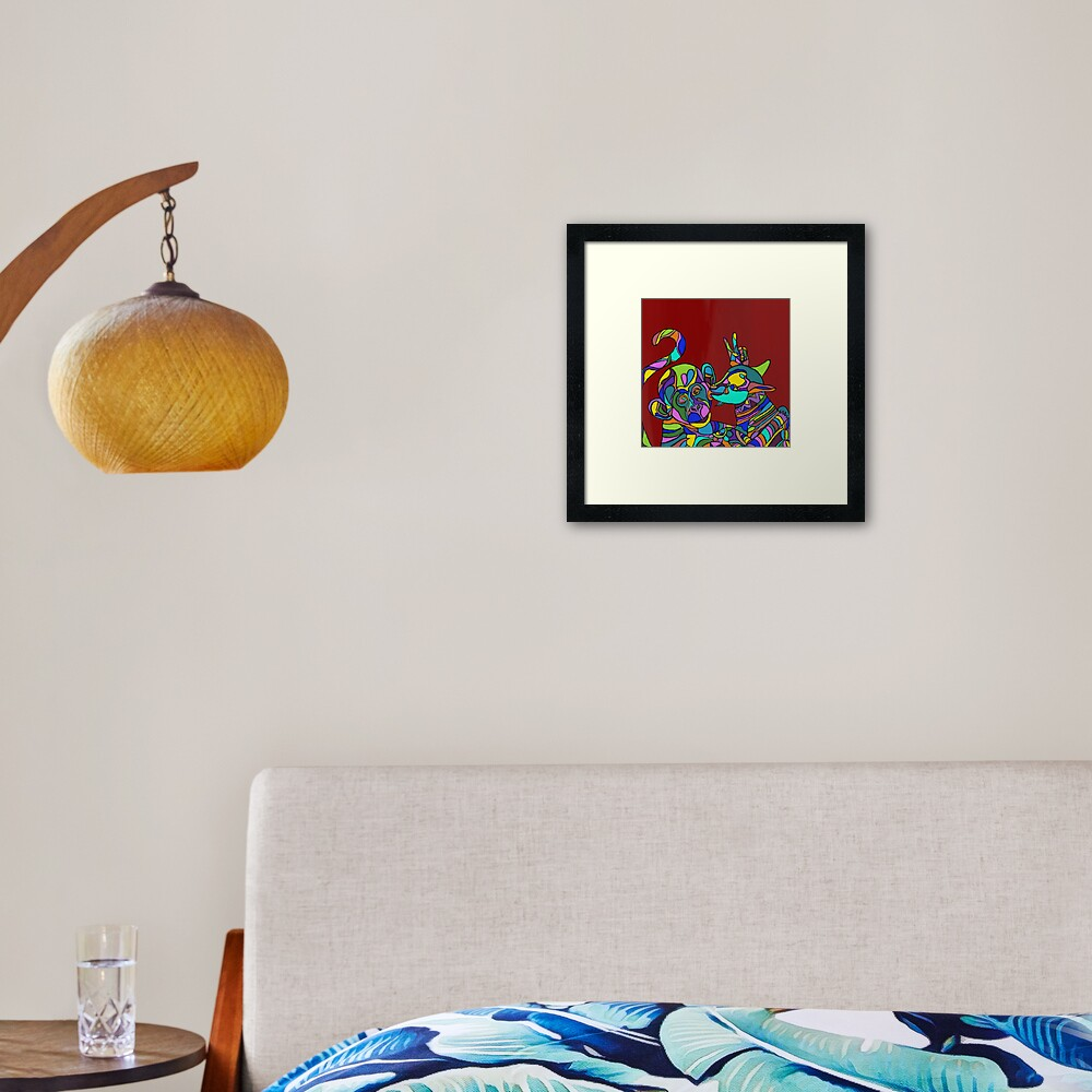 A goat and a monkey Framed Art Print