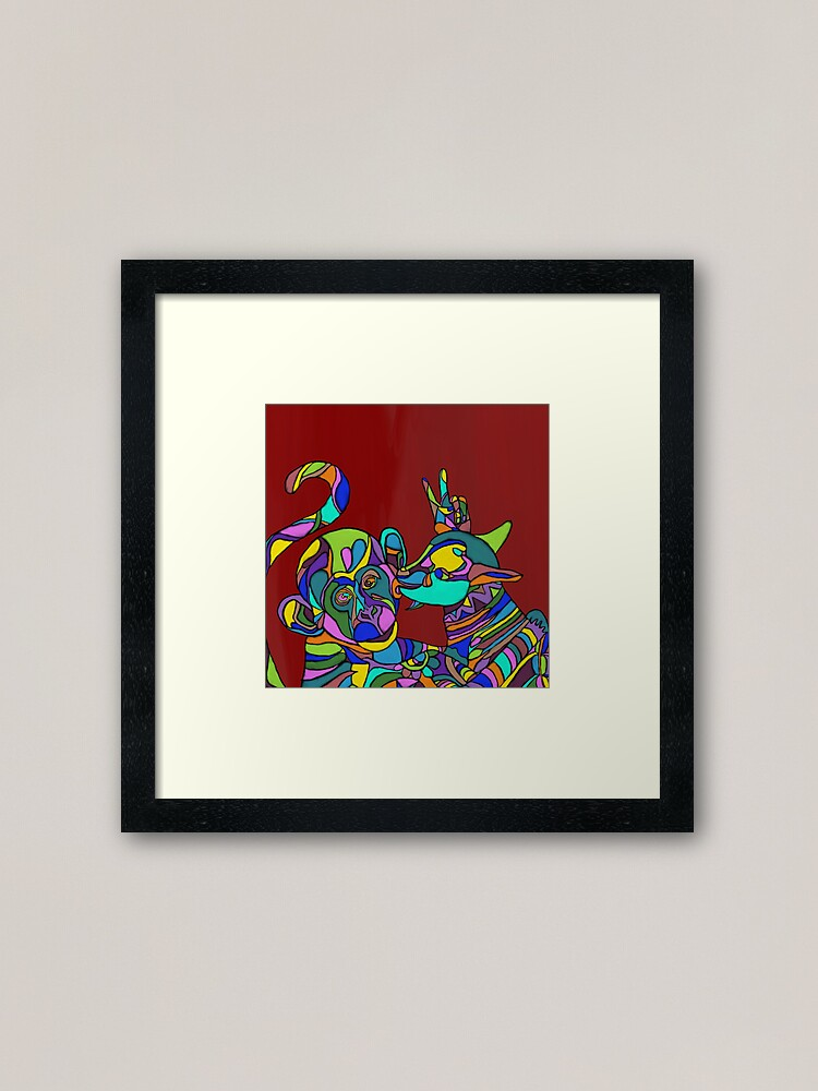 Alternate view of A goat and a monkey Framed Art Print
