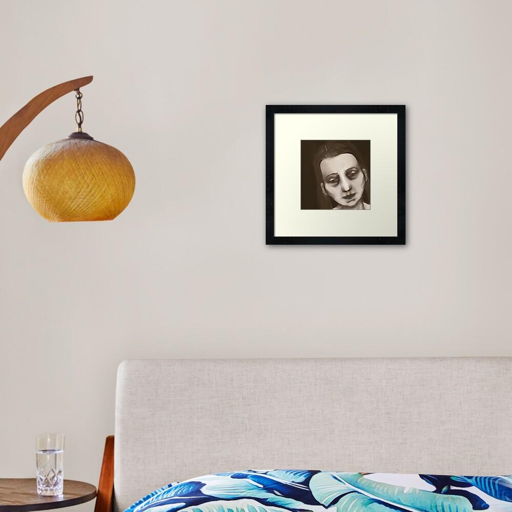 A portrait of feeling down Framed Art Print