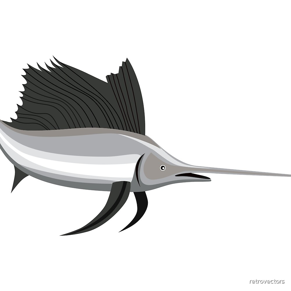 Billfish Jumping Retro by retrovectors