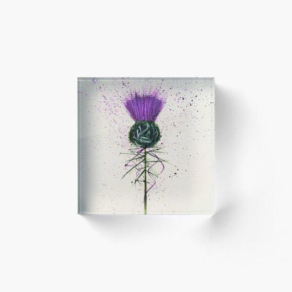 Purple Thistle Elegant style Acrylic Block