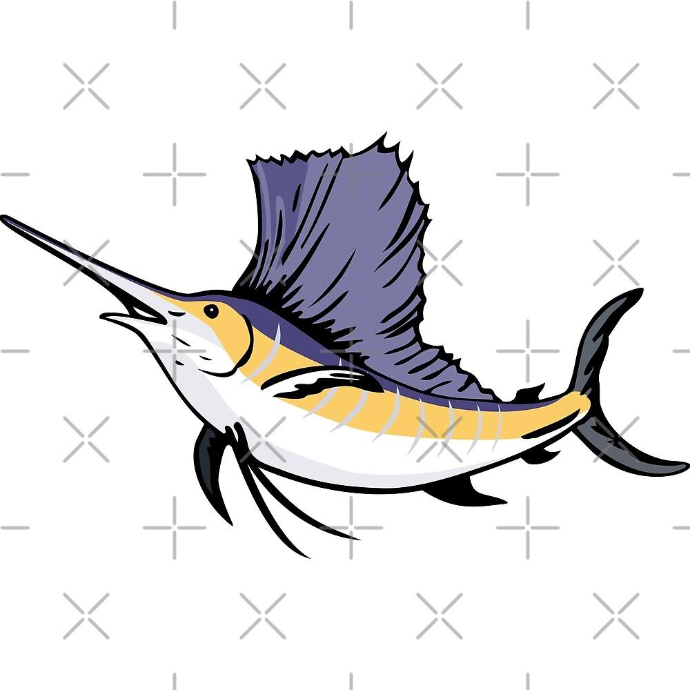 Sailfish Fish Jumping Retro by retrovectors