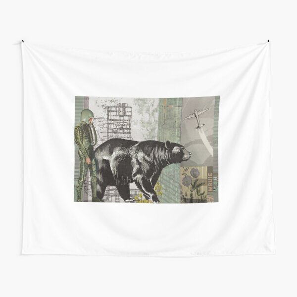 the astronaught walks along side the bear (horizontal) Tapestry