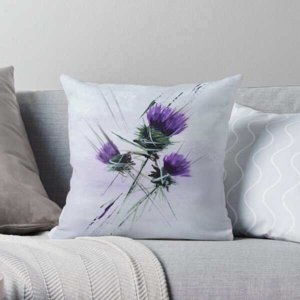 Scottish Thistles in a contemporary  style Throw Pillow