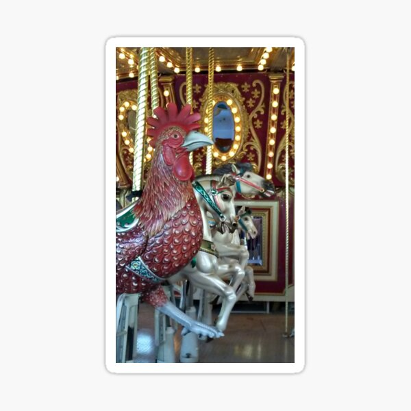 Interesting Carousel Lineup - 3 horses and a Rooster? Sticker