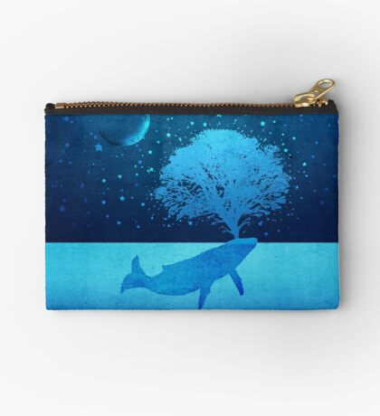 Whimsical Whale Spouting Tree Studio Pouch