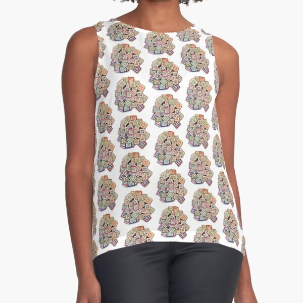 Colorful Squares Sleeveless Top