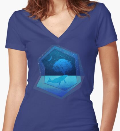 Whimsical Whale Spouting Tree Women's Fitted V-Neck T-Shirt