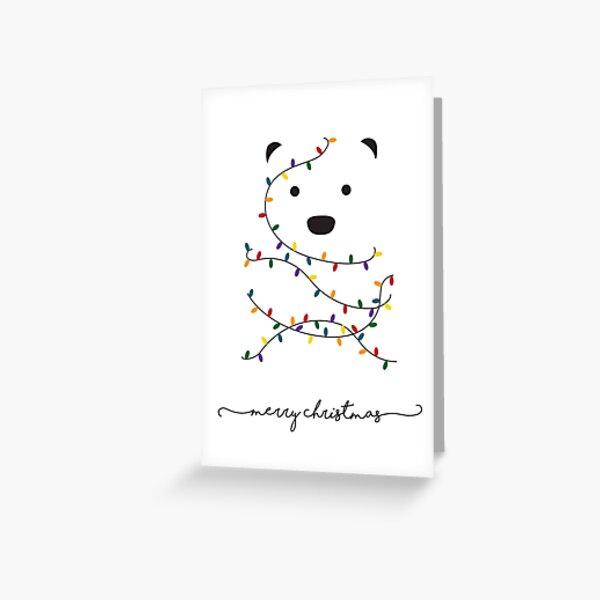 Merry Christmas Minimalist Polar Bear Card Greeting Card