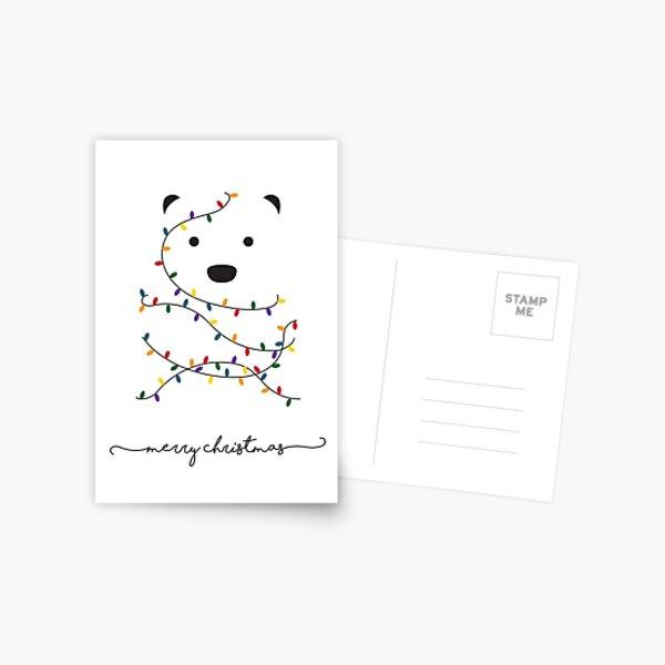 Merry Christmas Minimalist Polar Bear Card Postcard