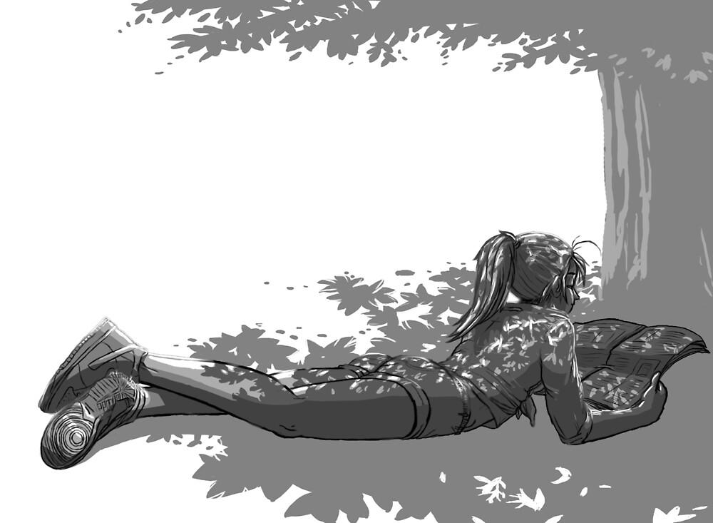 « Fille sous un arbre » par le-grom