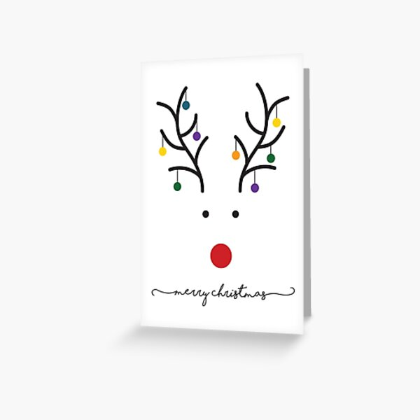 Merry Christmas Minimalist Reindeer Card Greeting Card