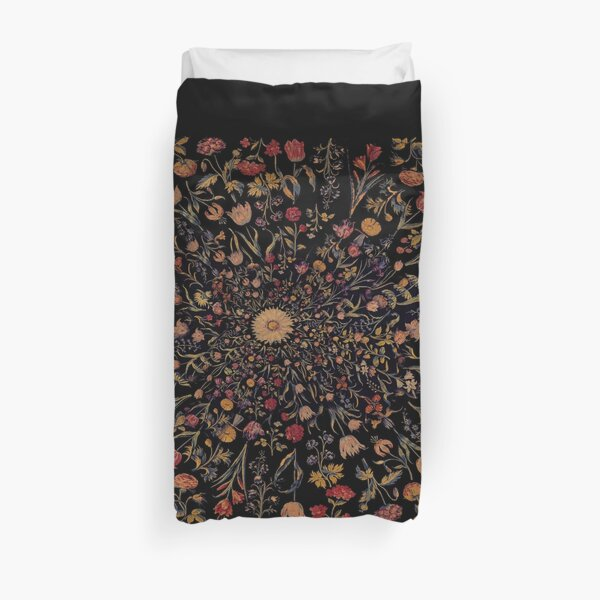 Medieval Flowers on Black Duvet Cover