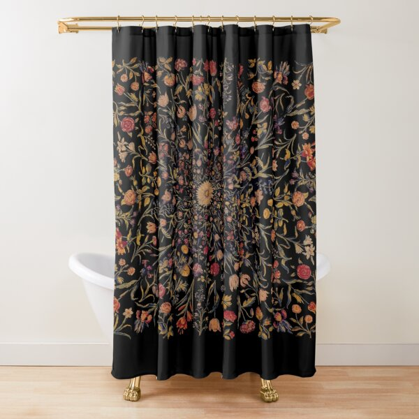 Medieval Flowers on Black Shower Curtain
