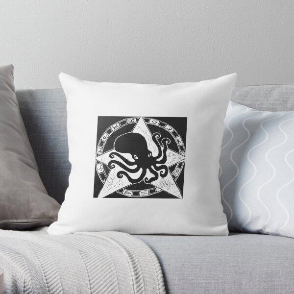 Cephalopod God (Crafty Hag Logo) Throw Pillow